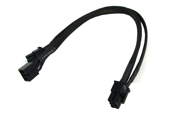 PCI-E power adaptor 6pin -> 8pin PCI-E (or 6pin + 2) 30cm - black