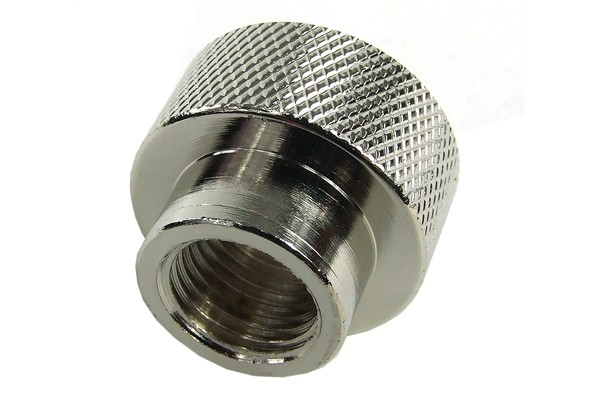 reducing socket G1/2 to G1/4 inner thread - knurled - silver nickel plated