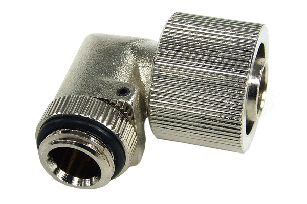 "16/11mm compression fitting 90° angled G1/4"" silver nickel plated"