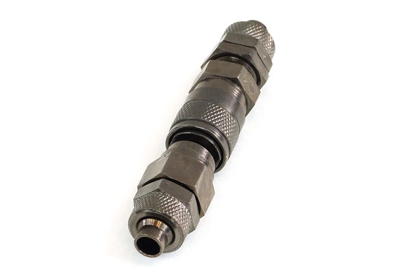 Phobya quick release connector kit 10/8mm with bulkhead thread - black nickel