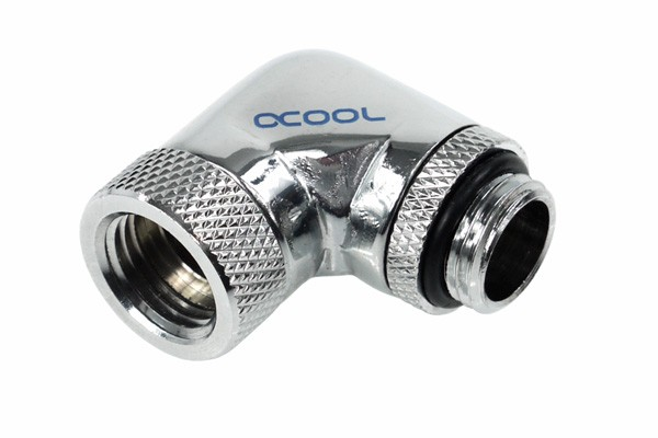 Alphacool angled adaptor 90° revolvable G1/4 outer thread to G1/4 inner thread - chrome