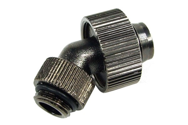 19/13mm compression fitting 45° revolvable G1/4 - compact - black nickel