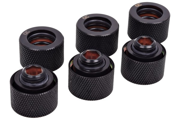 Alphacool HT 16mm HardTube compression fitting G1/4 - knurled - deep black sixpack