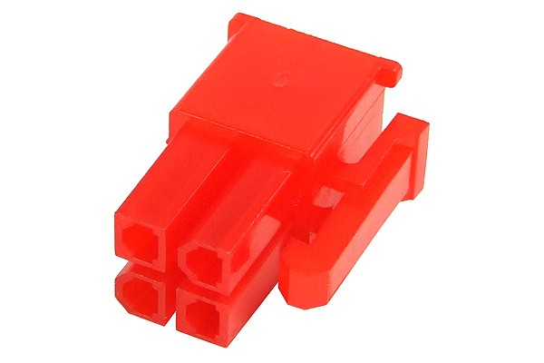 mod/smart ATX Power Connector 4Pin plug - UV-reactive red