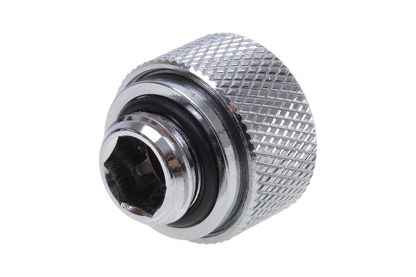 Alphacool HT 13mm HardTube compression fitting G1/4 for plexi- brass tubes (rigid or hard tubes) - knurled - chrome