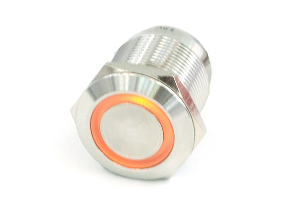 Phobya push-button vandalism-proof / bell push 16mm stainless steel, orange ring lighting 5pin