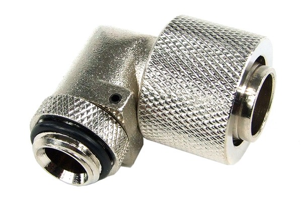 16/13mm compression fitting 90° revolvable G1/4 - knurled - silver nickel