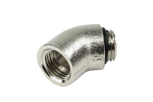 """angled 45° adaptor G1/4"""" to G1/4"""" inner thread - round - short - silver nickel plated"""