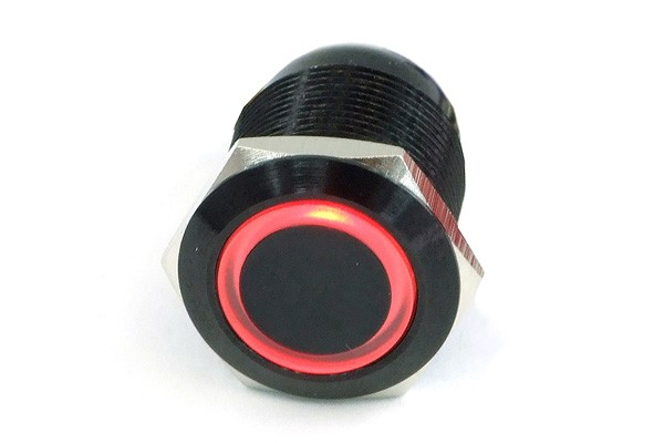 Phobya push-button vandalism-proof / bell push 19mm aluminium black, red lighting, with screw-on contacts