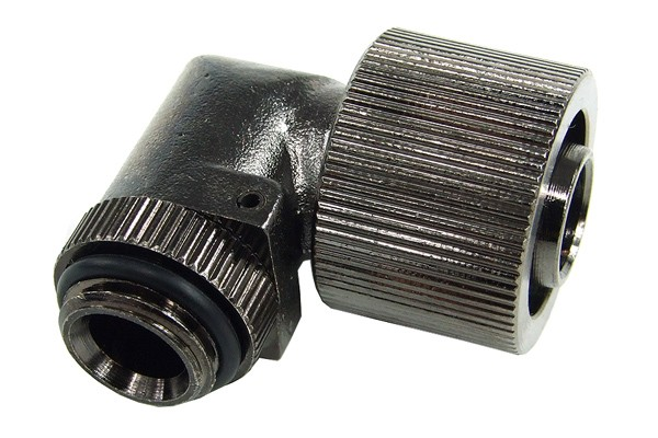 """16/11mm compression fitting 90° angled G1/4"""" black nickel plated"""