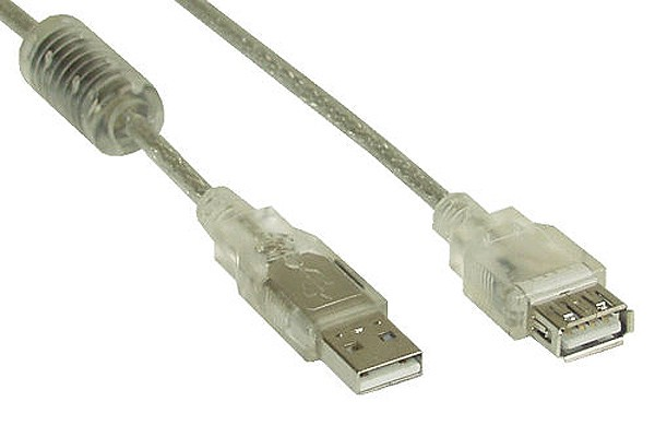 USB 2.0 extension cable, transparent, A M/F, with feritte, 5m