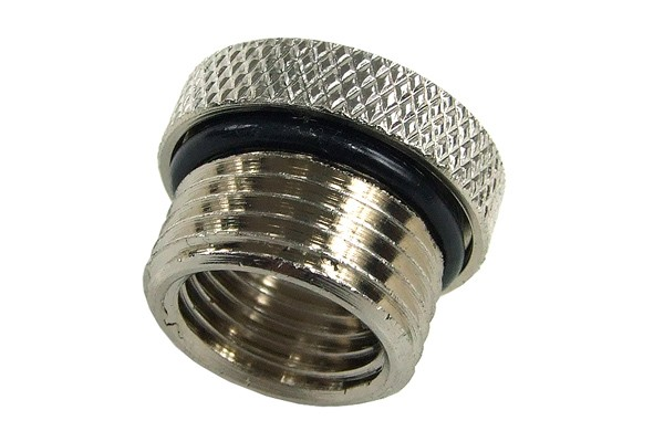 reducing socket G1/4 to G3/8 outside thread with O-Ring - knurled - silver nickel plated