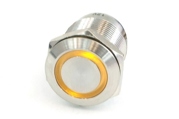 Phobya push-button vandalism-proof / bell push 19mm stainless steel, yellow lighting, with screw-on contacts 6pin