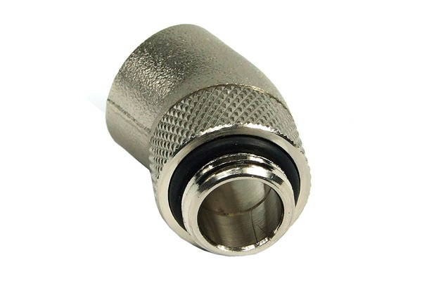 """angled 30° adaptor revolvable G1/4"""" to G1/4"""" inner thread - round - silver nickel plated"""