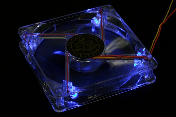 Yate Loon D12SL-12+4LED transparent with blue LEDs & plug (1350rpm) ( 120x120x25mm )